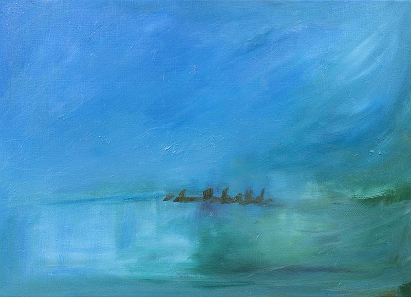 dreamscapes home landschap stad aan het water ad van den boom kunstenaar moderne kunst crealisme