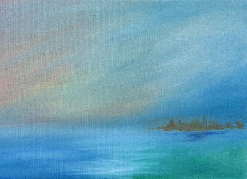 Zeegezicht landschap dreamscapes Ad van den Boom abstracte kunst