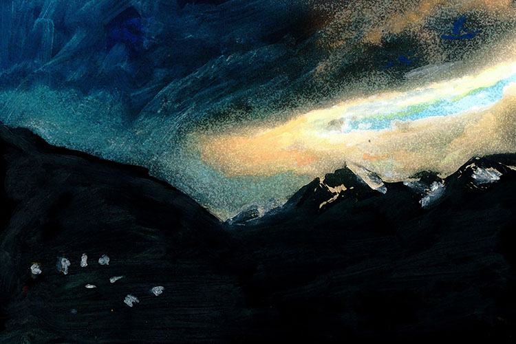 zwitserland,grächen,midzomernacht,berglandschap,moderne,kunst,schilderij
