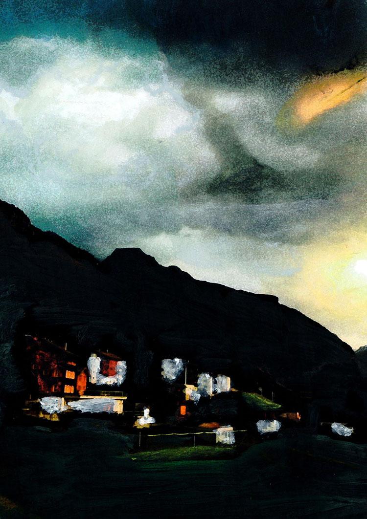 zwitserland,grächen,zomeravond,berglandschap,moderne,kunst,schilderij
