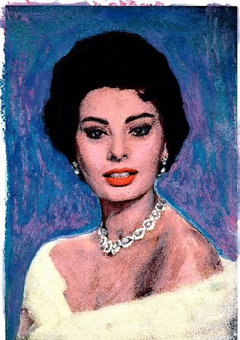 Forever Beautiful Sophia Loren, ad van den boom, kunstenaar, crealisme, schilderijen, tekeningen