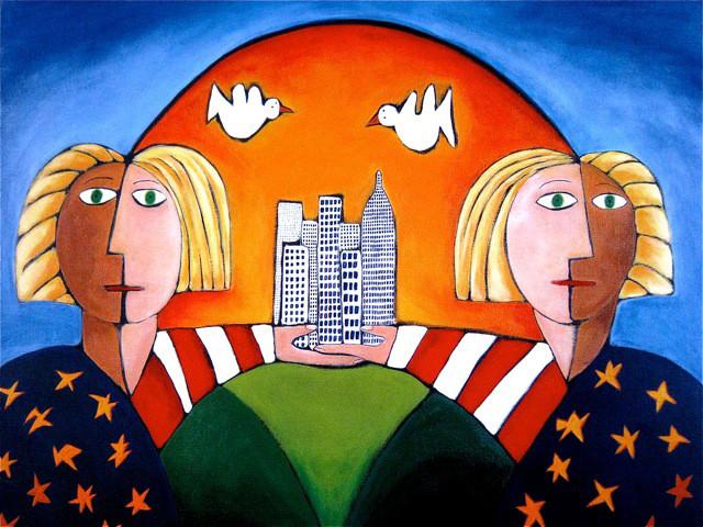 Ad van den Boom, Twin Towers acryl op linnen