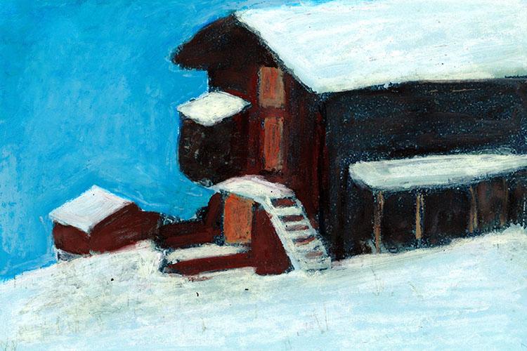 zwitserland,grächen,schuur,berglandschap,moderne,kunst,schilderij