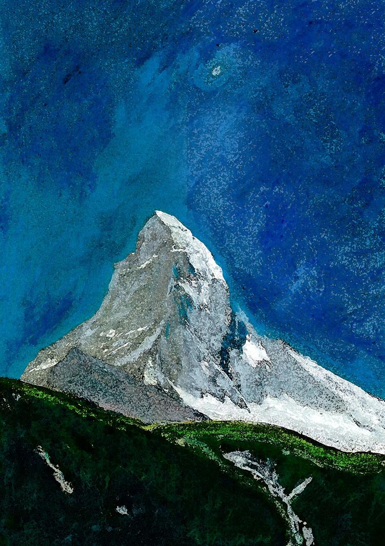 zwitserland,zermatt,matterhorn,berglandschap,moderne,kunst,schilderij