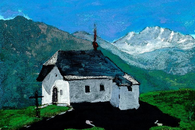 zwitserland,berglandschap,kerkje,moderne,kunst,schilderij