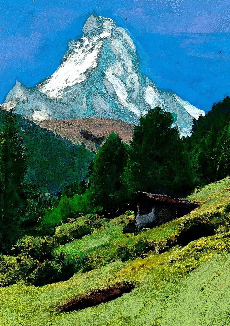 zwitserland,zermatt,matterhorn,zomer,berglandschap,moderne,kunst,ad,schilderij