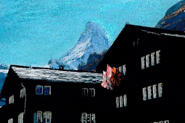 zwitserland,zermatt,berglandschap,zermatt,dorp,moderne,kunst,schilderij