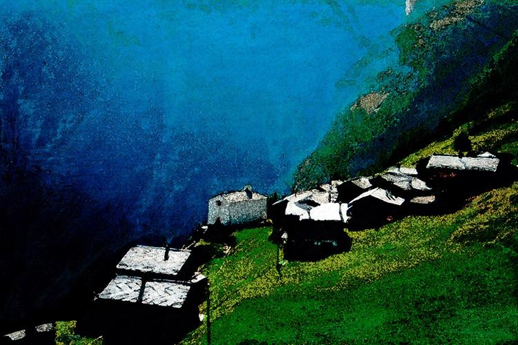 zwitserland,berglandschap,jungen,moderne,kunst,schilderij