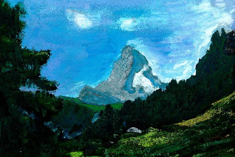 zwitserland,zermatt,berglandschap,mont,cervin,moderne,kunst,schilderij