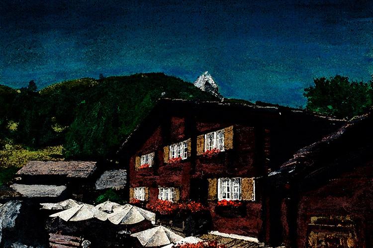 zwitserland,zermatt,zumsee,berglandschap,matterhorn,moderne,kunst,schilderij
