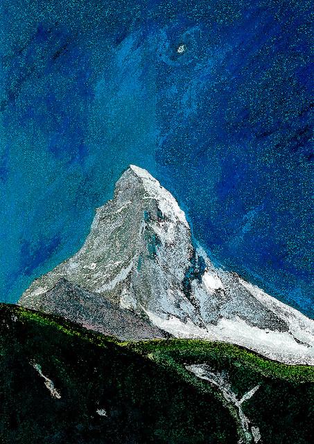 zwitserland,zermatt,schilderij,berglandschap,zomer,matterhorn