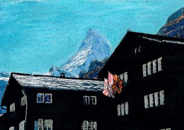 zwitserland,zermatt,schilderij,dorpsgezicht,matterhorn