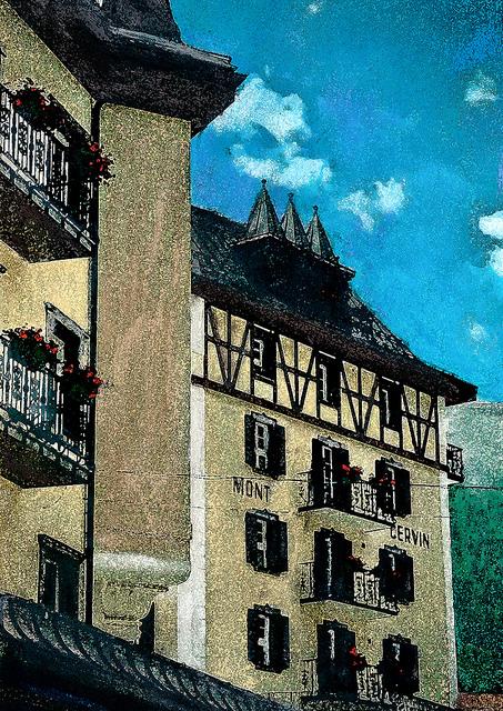 zwitserland,zermatt,schilderij,doprsgezicht,hotel,mont,cervin,palace