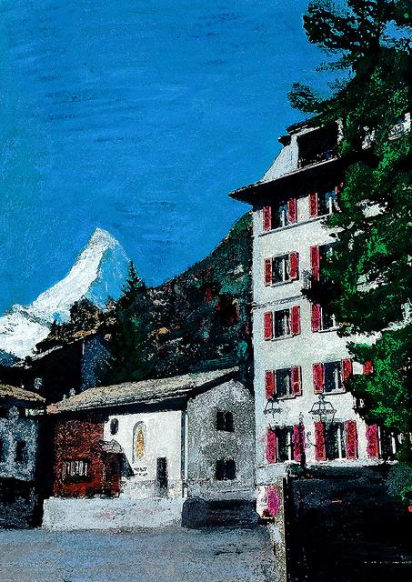 zwitserland,zermatt,schilderij,dorpsgezicht,hotel,monte,rosa