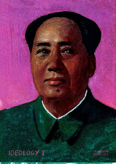 wereldleiders,mao,zedong,modern,art,portret,schilderij