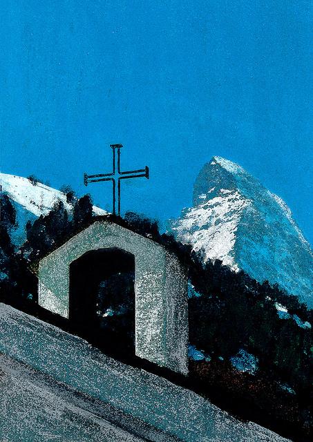 zwitserland,zermatt,schilderij,berglandschap,kapel,zumsee,matterhorn
