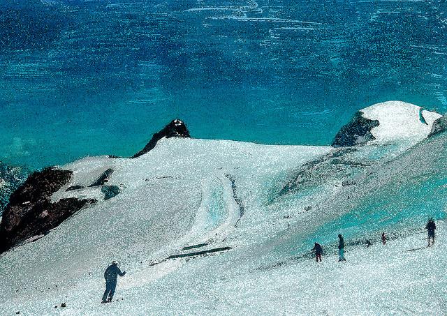 zwitserland,zermatt,schilderij,berglandschap,klein,matterhorn,skiërs,winter,sneeuw