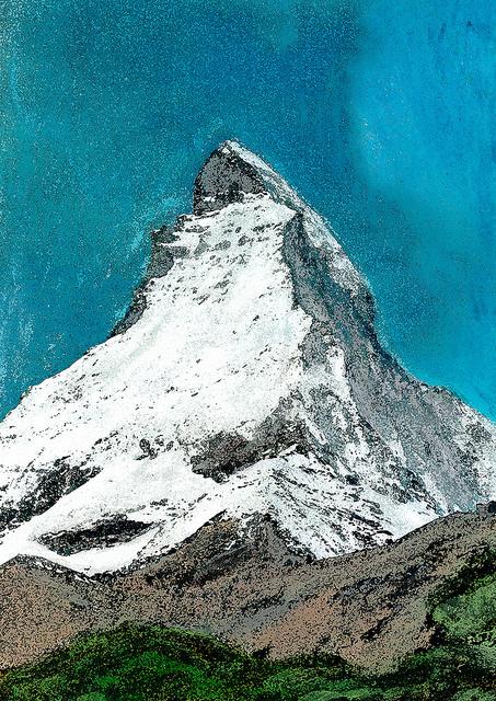 zwitserland,zermatt,schilderij,bergtop,berglandschap,winter,mont,cervin
