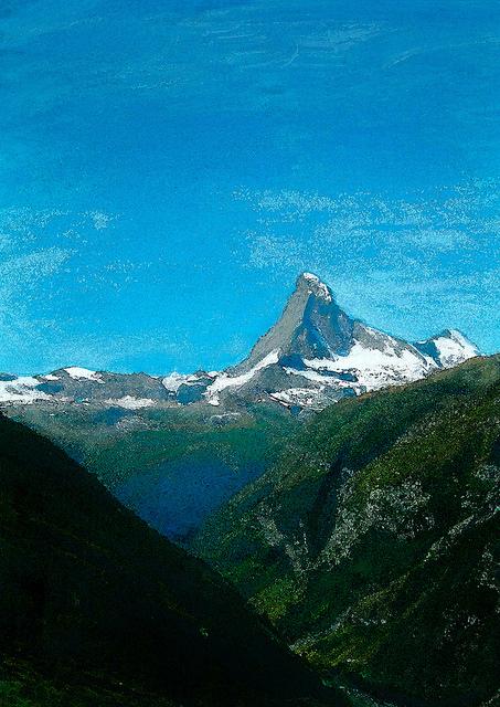 zwitserland,zermatt,matterhorn,schilderij,berglandschap,zomer
