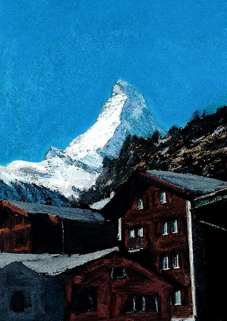 zwitserland,zermatt,schilderij,dorpsgezicht,winter