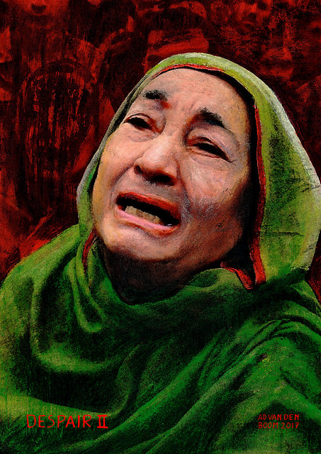 wereldleiders,huildende,vrouw,modern,art,portret,schilderij
