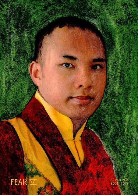wereldleiders,monnik,budhist,modern,art,portret,schilderij