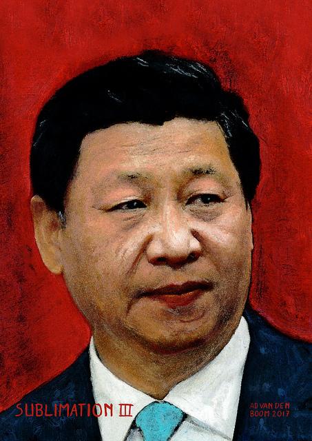 wereldleiders, xi,ping,modern,art,portret,schilderij,ad,van,den,boom