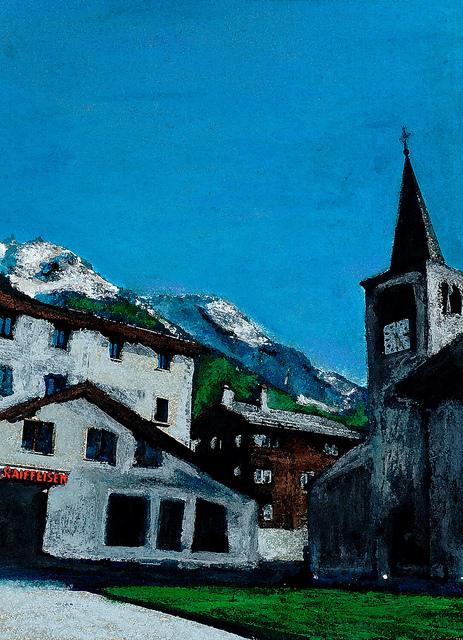 zwitserland,grächen,dorpsgezicht,moderne_kunst,ad_van_den_boom