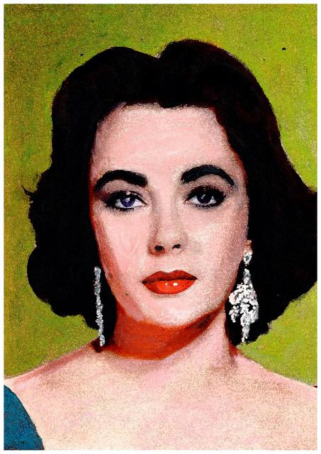 forever beautiful portret liz taylor schilderij