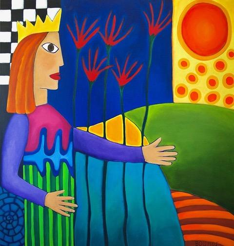 Geschilderde vrouw met kroon een een zonnig en gekleurd landschap