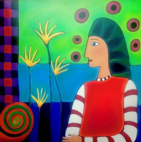 Geschilderde vrouw met een groene sluier in surrealistisch landschap