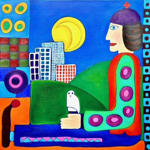 Geschilderde clown met een uil in een kleurrijke achtergrond
