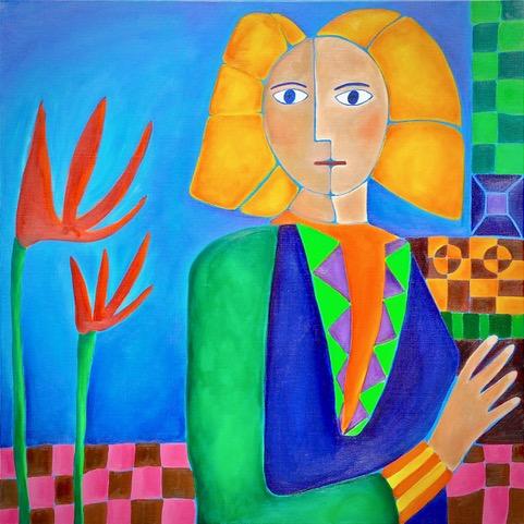 Geschilderde vrouw met blond in kleurrijk landschap