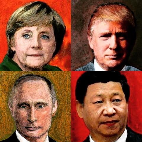 wereldleiders portret schilderijen crealisme vrede
