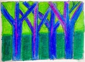 kleurrijk bos studie kunst crealisme schets tekening