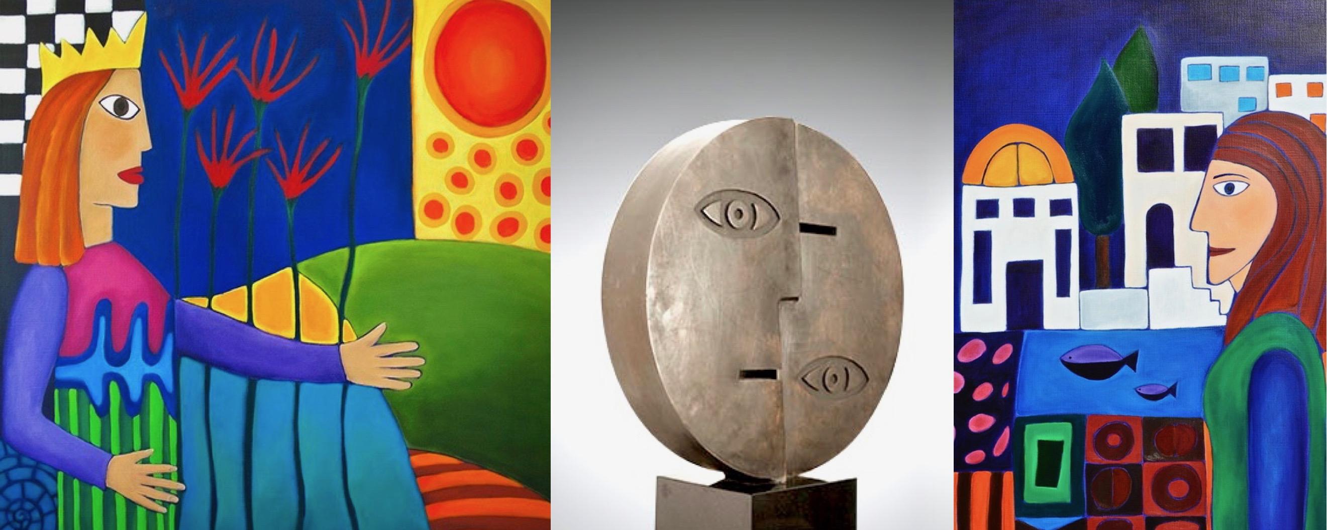 schilderijen en beeld in brons