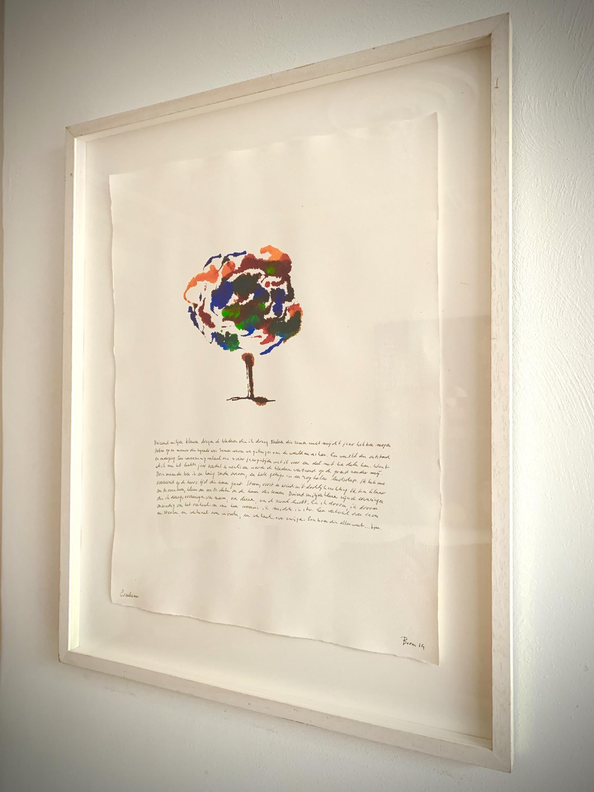 schilderij van boom met herfstkleuren