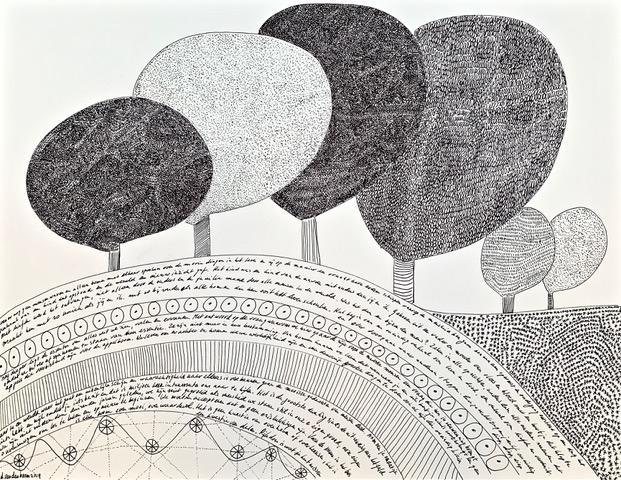 Getekend landschap zwarte inkt met bomen