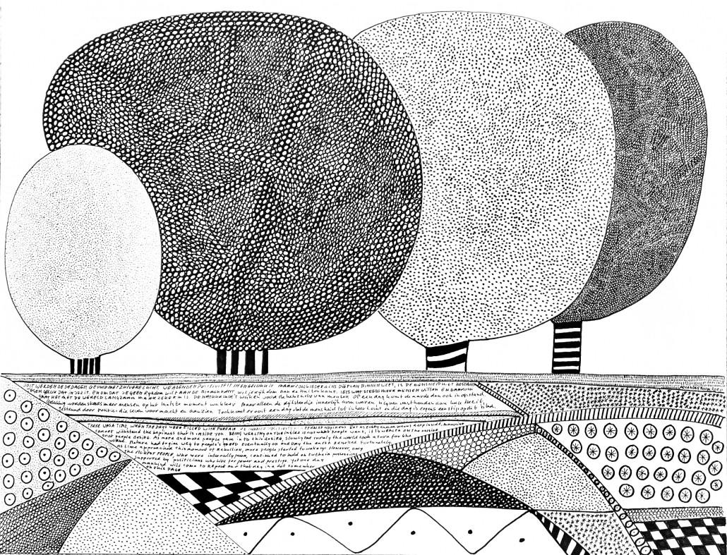 Homeland I pentekening van bomen in abstract landschap