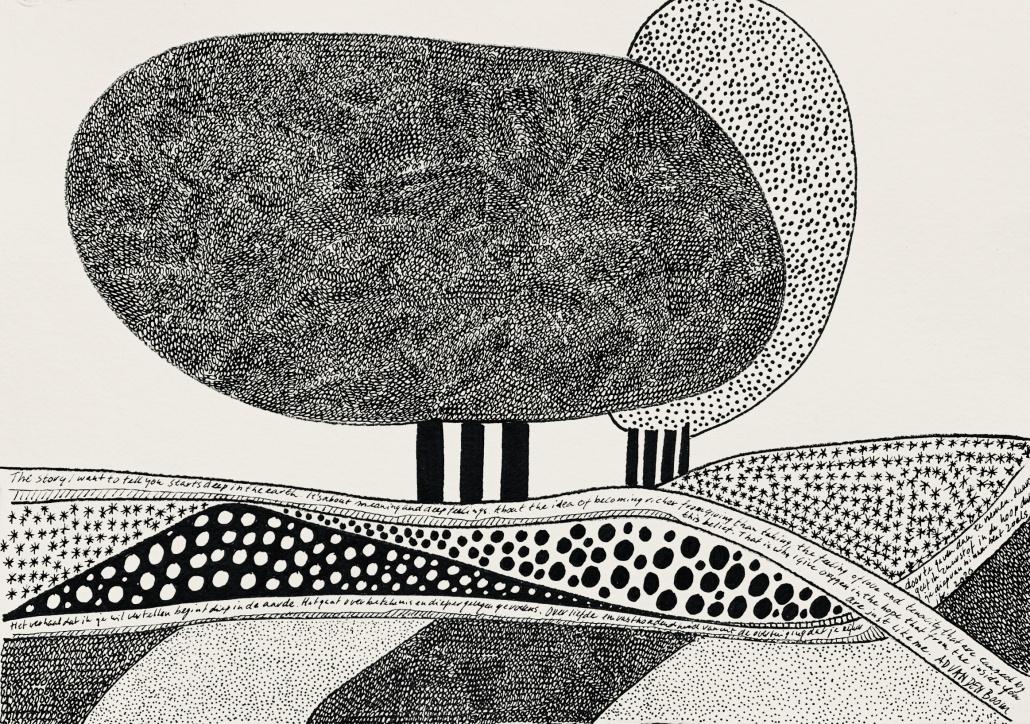 zwart/wit pentekening van twee bomen in een abstract landschap