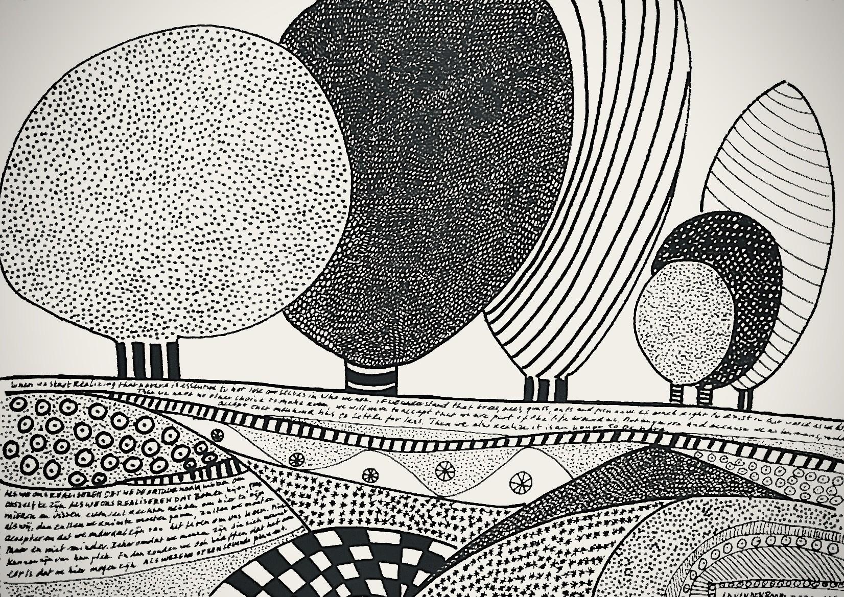 Homeland abstract en modern schilderij van een landschap in zwart wit