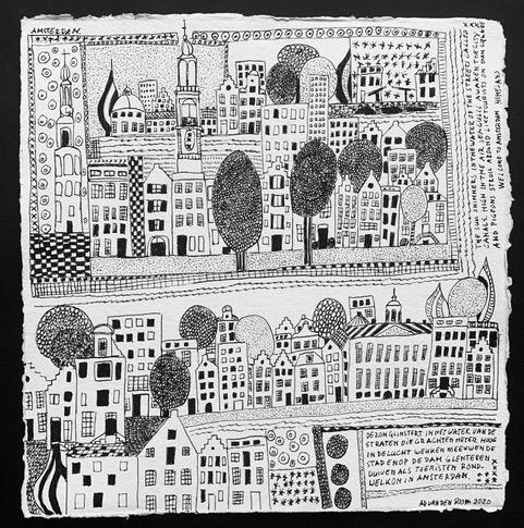 Homeland Amsterdam stadsgezicht inkt op papier