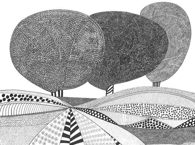 Homeland zwart wit tekening landschap 3 bomen