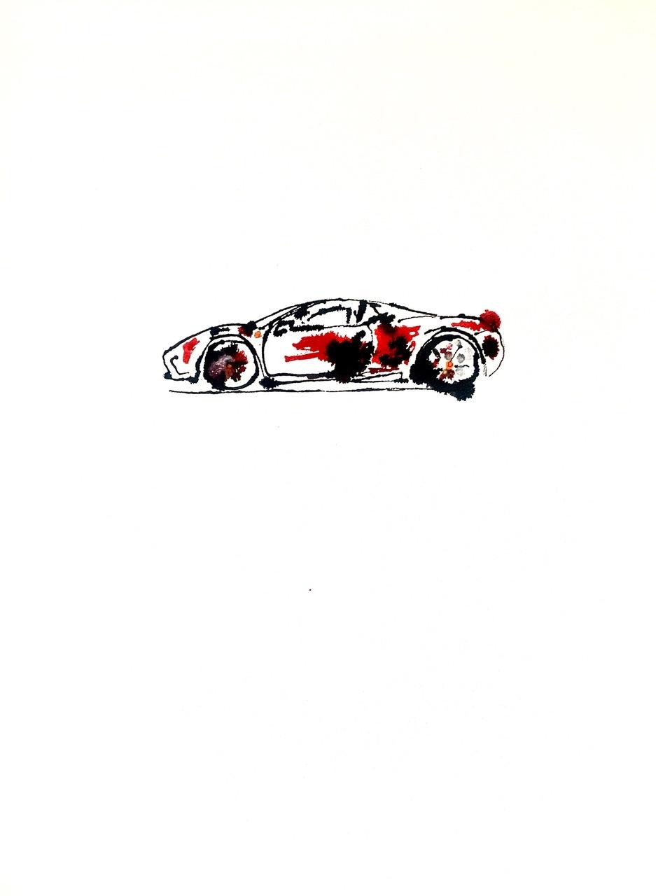 Auto Ferrari schilderij acryl op papier