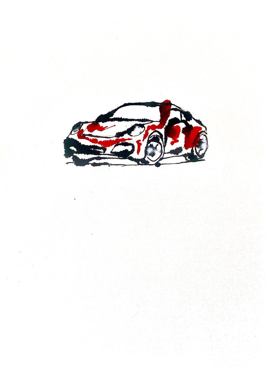 Auto Porsche 911 acryl op papier