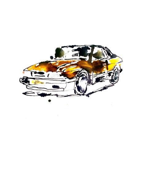 Auto' Saab 900 cabrio schilderij