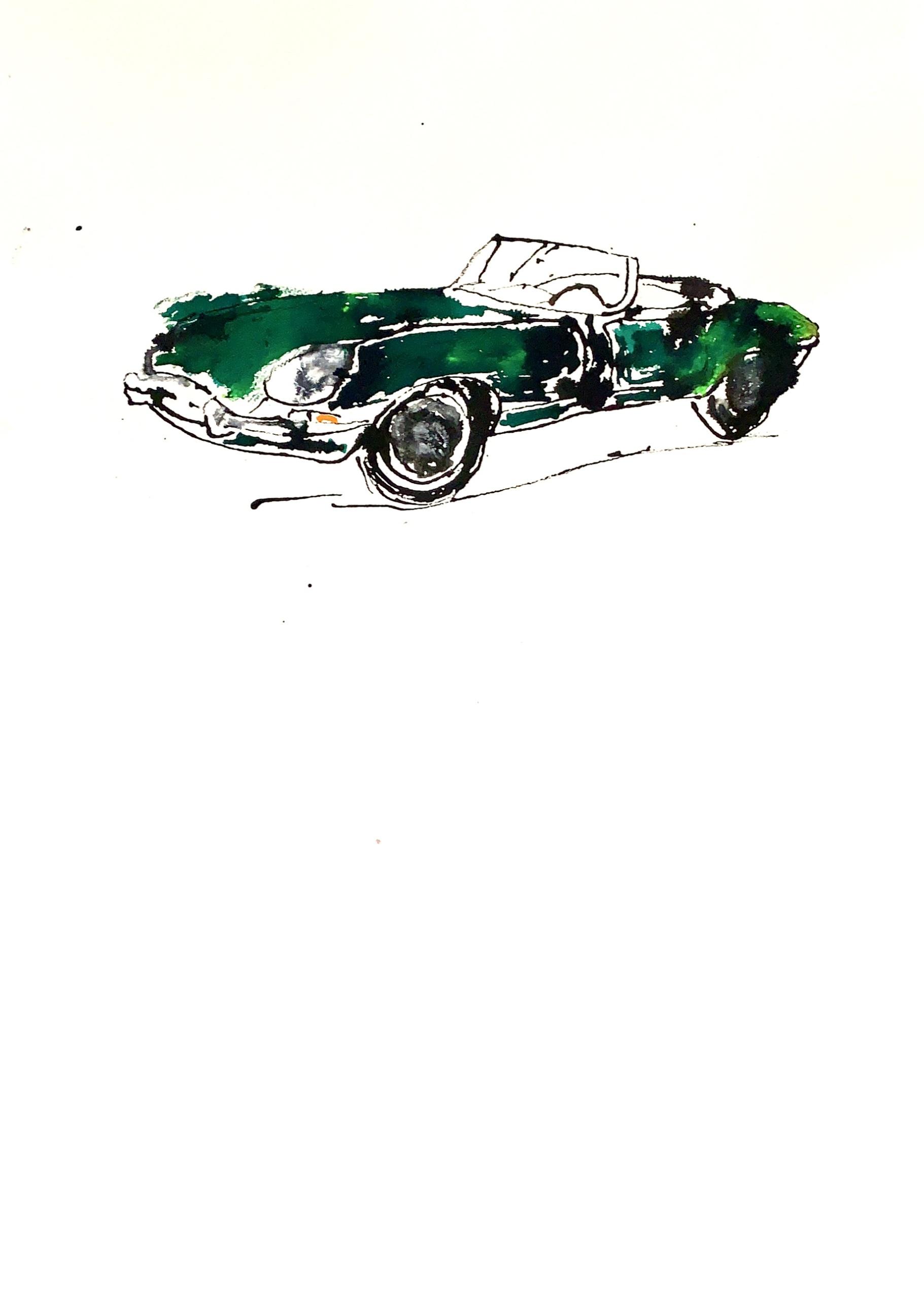 auto Jaguar e-type acryl op papier