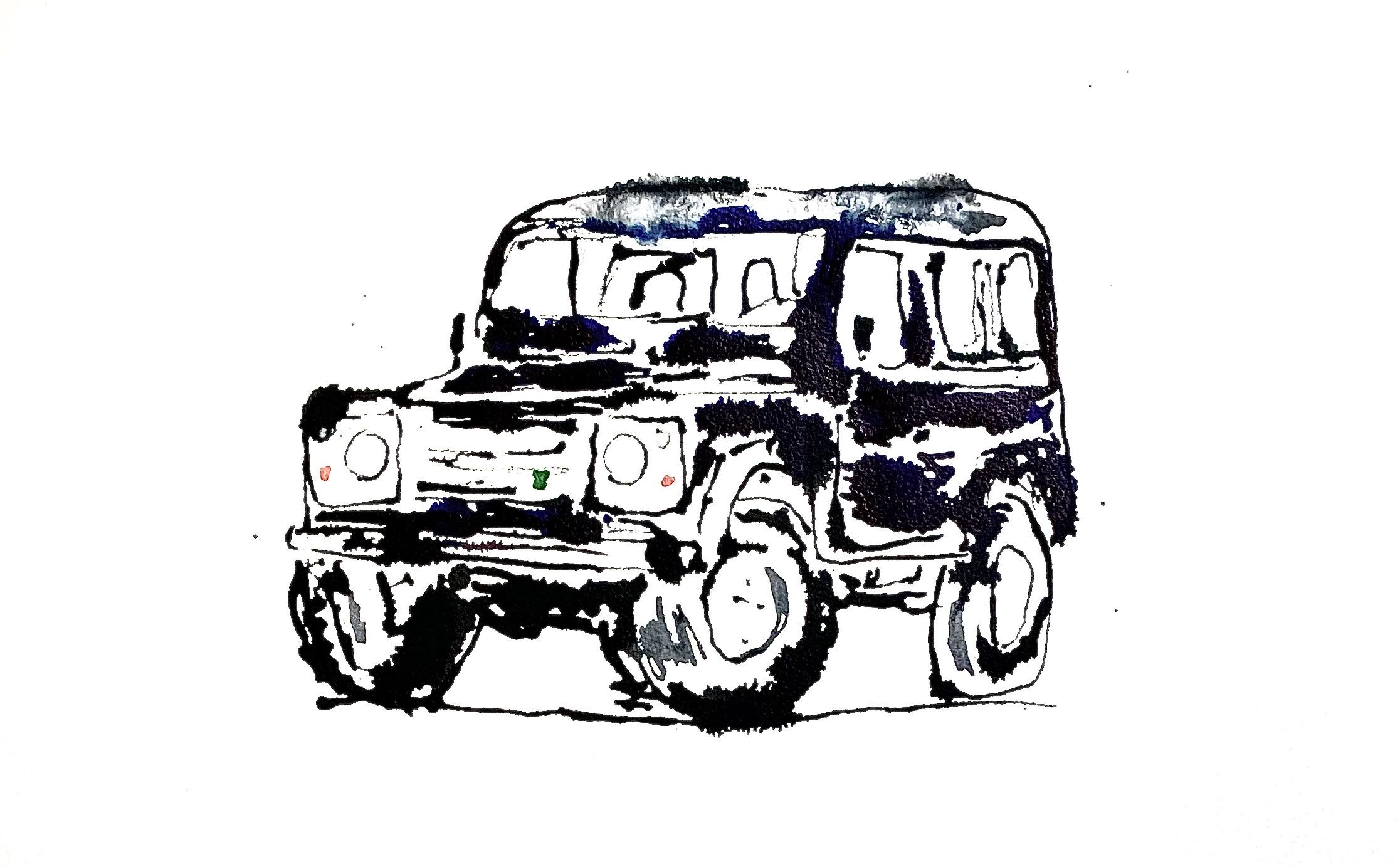 auto land rover defender acryl op papier